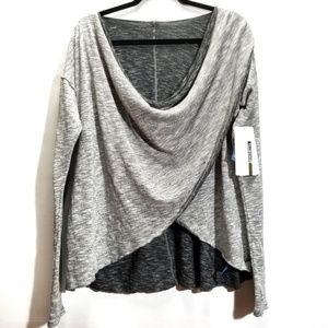 NWT Mondetta Grey Marled Twisted Front Active Top